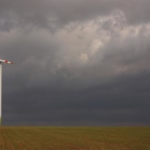 dark and cloudy farm field